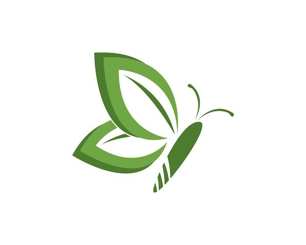 Szablon Projektu Logo Zielony Motyl Premium Wektorów