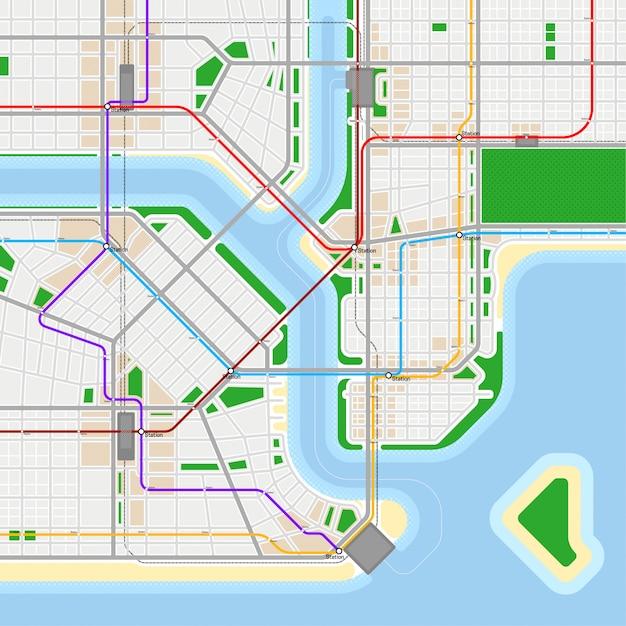 Szablon Projektu Mapy Metra Lub Metra. Koncepcja Systemu Transportu Miejskiego. Premium Wektorów