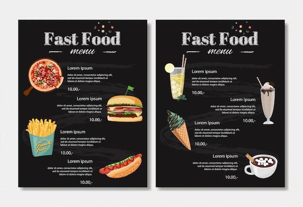 Szablon Projektu Menu Fast Food. Premium Wektorów