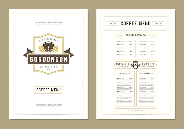 Szablon Projektu Menu Kawy Dla Baru Lub Kawiarni Premium Wektorów