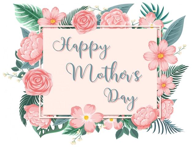 Szablon Projektu Na Szczęśliwy Dzień Matki Z Różowymi Różami Premium Wektorów