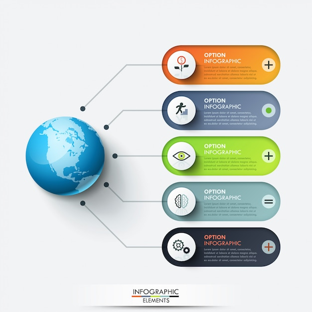 Szablon Projektu Nowoczesny Plansza. Planeta Połączona Z 5 Zaokrąglonymi Polami Tekstowymi I Ikonami Cienkiej Linii Premium Wektorów