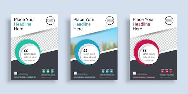 Szablon projektu okładki plakatu książki z miejscem na zdjęcie w tle. Premium Wektorów