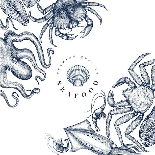 Szablon Projektu Owoce Morza. Ręcznie Rysowane Ilustracji Wektorowych Owoców Morza. Premium Wektorów