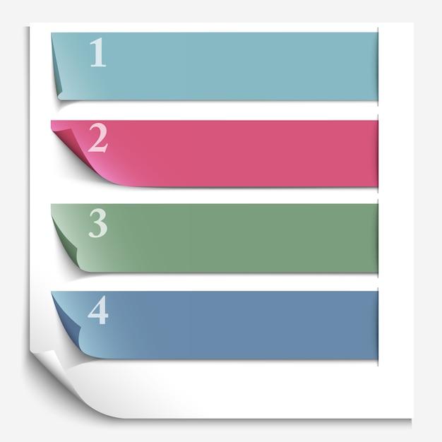Szablon projektu papieru dla numerowanych banerów papierowych Premium Wektorów