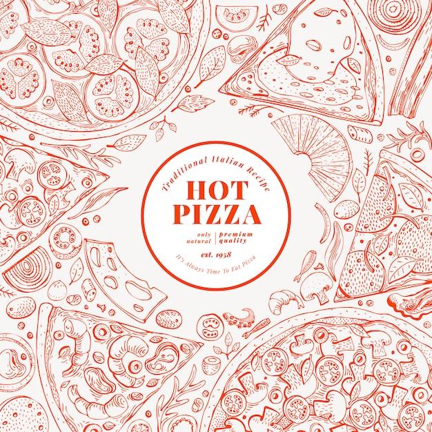 Szablon projektu pizzy. ręcznie rysowane ilustracji wektorowych fast food. szkic stylu retro włoskiej pizzy tło. Premium Wektorów