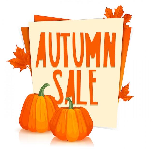 Szablon Projektu Plakat Jesienna Wyprzedaż Plakat Z Pomarańczowymi Liśćmi Klonu I Dyniami Premium Wektorów