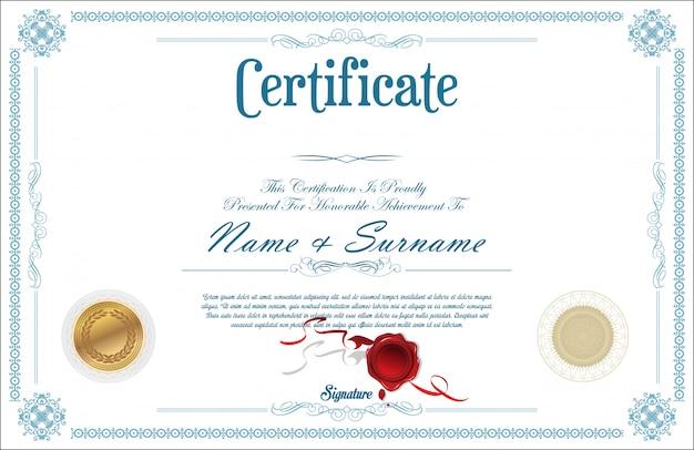 Szablon projektu retro certyfikat lub dyplom Premium Wektorów