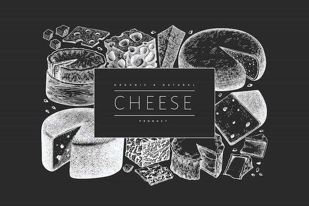 Szablon Projektu Sera. Transparent Różnych Rodzajów Sera Grawerowane. Tło Vintage żywności. Premium Wektorów