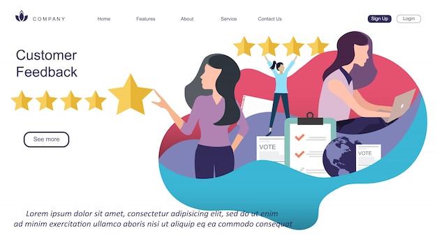 Szablon Projektu Sieci Web Oceny Klienta Premium Wektorów