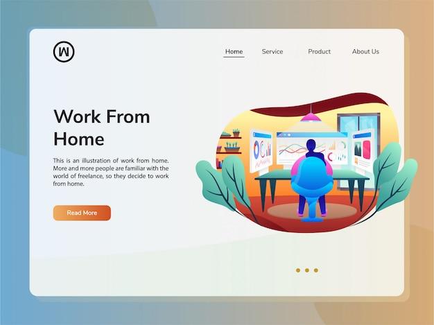 Szablon Projektu Strony Internetowej Wektor. Koncepcja Pracy W Domu Premium Wektorów