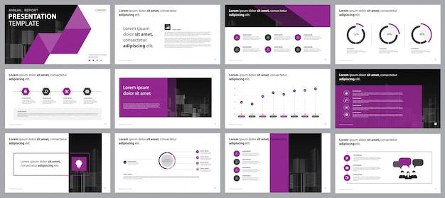Szablon Projektu Układu Strony Prezentacji Fioletowy Firmy Premium Wektorów