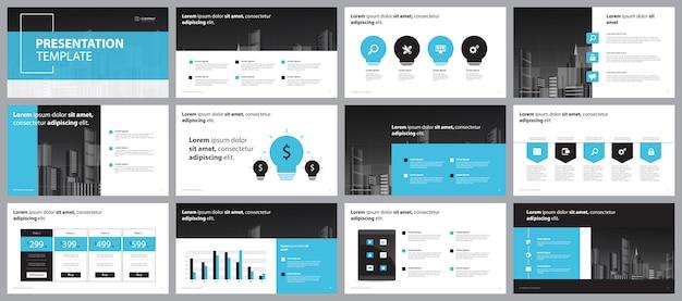Szablon Projektu Układu Strony Prezentacji Niebieski Biznes Premium Wektorów