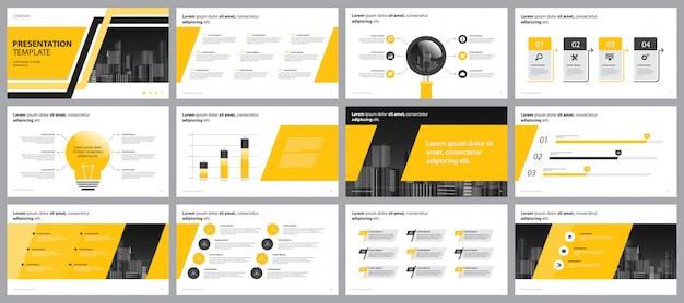 Szablon Projektu Układu Strony Prezentacji żółty Firmy Premium Wektorów