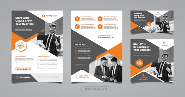 Szablon Projektu Ulotki I Transparent Kreatywne Firmy Premium Wektorów