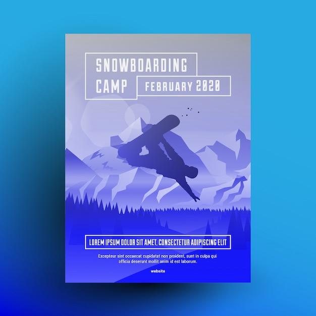 Szablon Projektu Ulotki Lub Plakatu Obozu Snowboardowego Z Ciemną Sylwetką Jeźdźca Na Tle Krajobrazu Gór Z Niebieskim Efektem Nakładki Gradientowej. Premium Wektorów