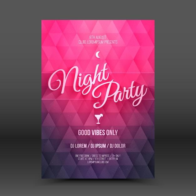 Szablon Projektu Wektor Flayer Night Party Premium Wektorów