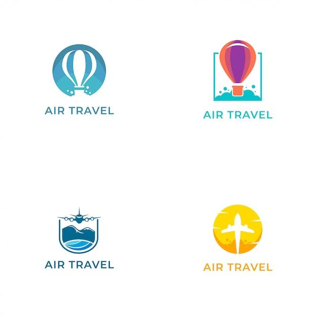 Szablon projektu wektor logo podróży lotniczych Premium Wektorów