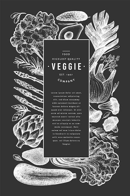 Szablon projektu zielone warzywa. Premium Wektorów