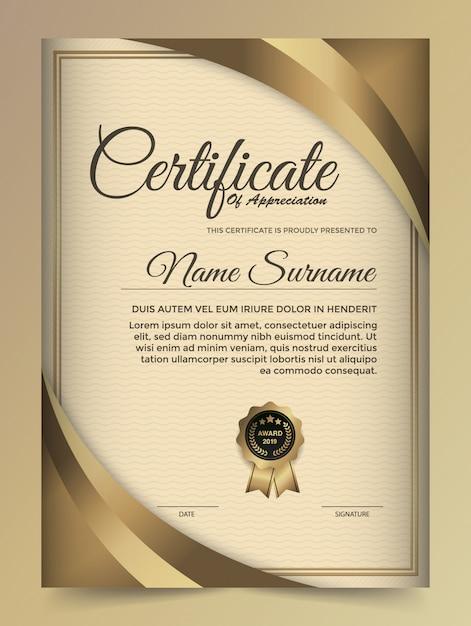 Szablon projektu złoty certyfikat premium. Premium Wektorów