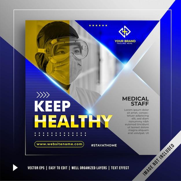 Szablon Promocji Banner Bądź Zdrowy Darmowych Wektorów