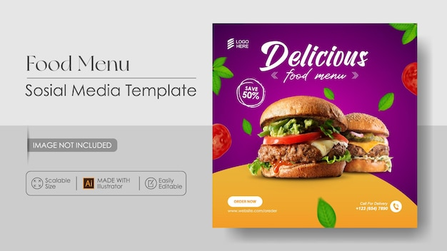 Szablon Promocji Mediów Sosial Food Burger Food I Szablon Projektu Instagram Premium Wektorów