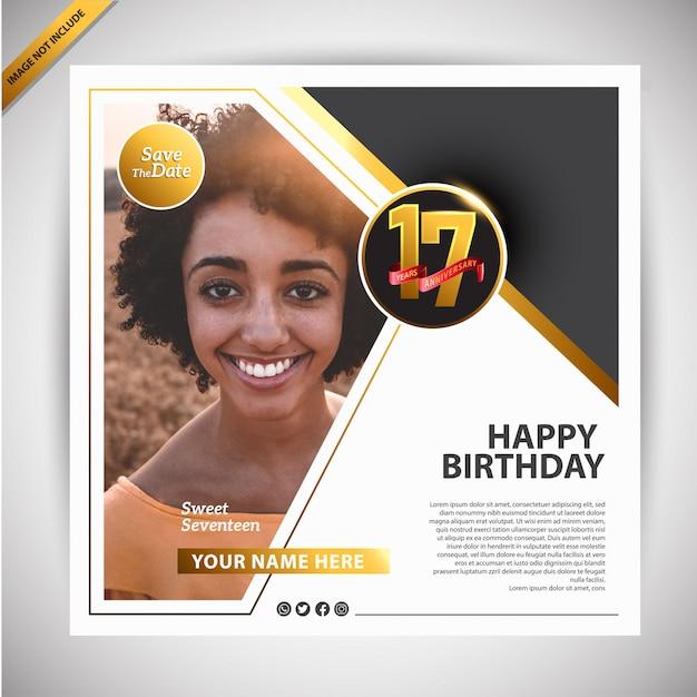 Szablon promocji transparent urodziny Premium Wektorów