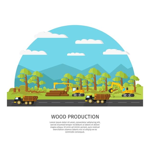 Szablon Przemysłowej Produkcji Drewna Darmowych Wektorów