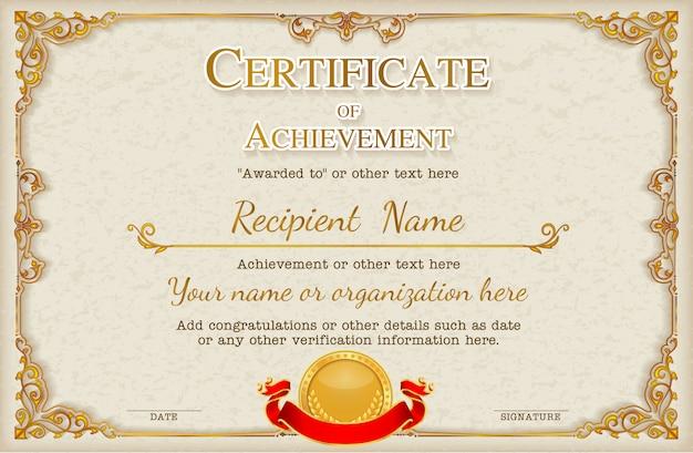 Szablon rama tło wzór certyfikatu Premium Wektorów