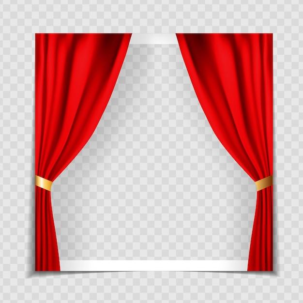 Szablon Ramki Na Zdjęcia Czerwone Zasłony Kina Premium Wektorów