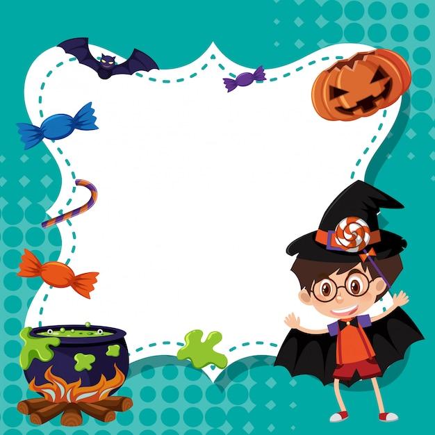Szablon ramki z chłopcem w kostium na halloween Premium Wektorów