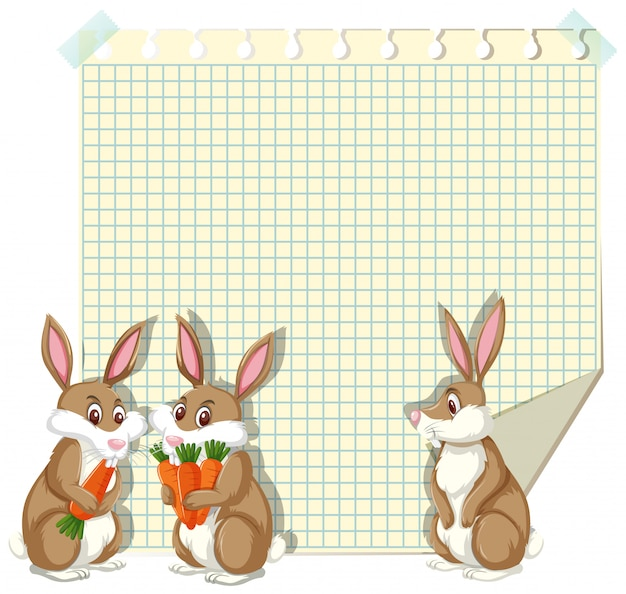 Szablon ramki z trzema króliczkami Premium Wektorów