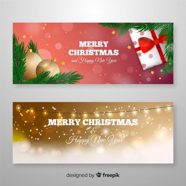 Szablon realistyczne banery świąteczne Darmowych Wektorów