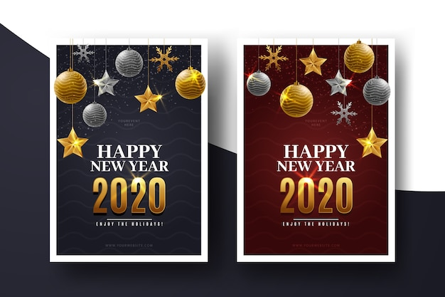 Szablon Realistyczne Ulotki Nowego Roku Darmowych Wektorów