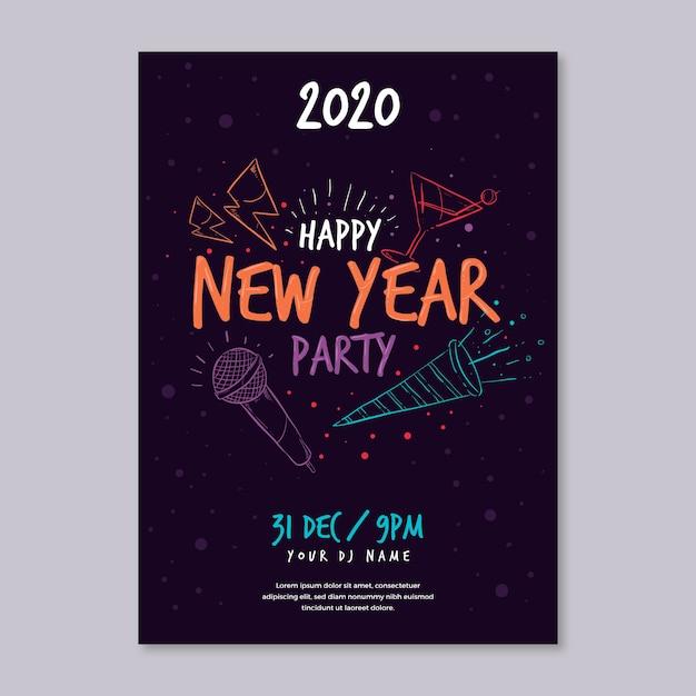 Szablon ręcznie rysowane nowy rok party plakat Darmowych Wektorów