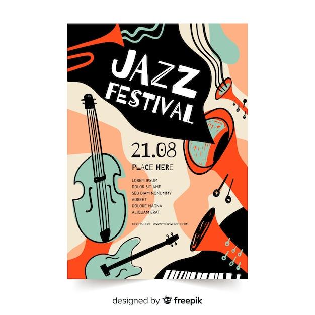 Szablon ręcznie rysowane streszczenie jazzowy plakat Darmowych Wektorów