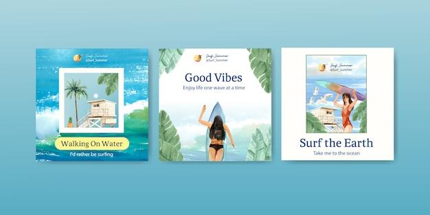 Szablon Reklam Z Deskami Surfingowymi Na Plaży Darmowych Wektorów