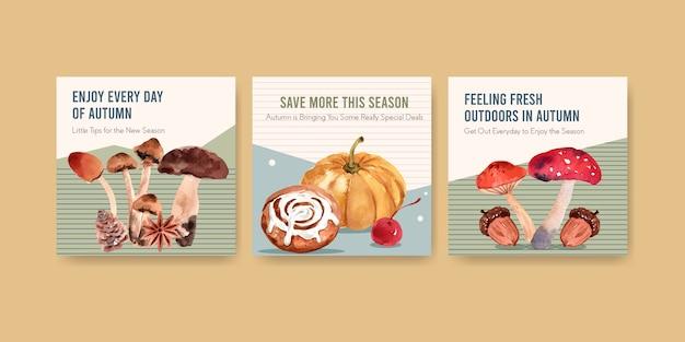 Szablon Reklam Z Jesiennym Codziennym Projektem Akwareli Reklamowych I Marketingowych Darmowych Wektorów