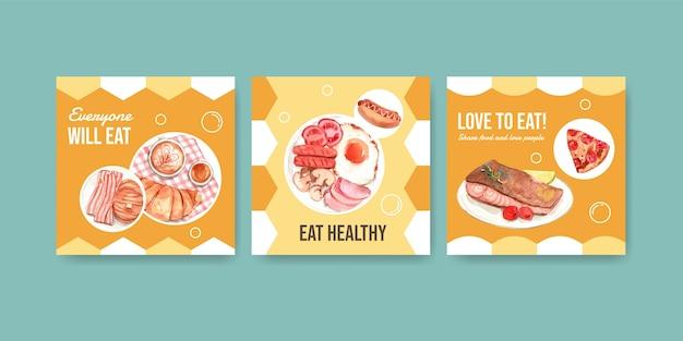 Szablon Reklam Z Koncepcją światowego Dnia żywności Do Reklamy I Marketingu Akwareli Darmowych Wektorów