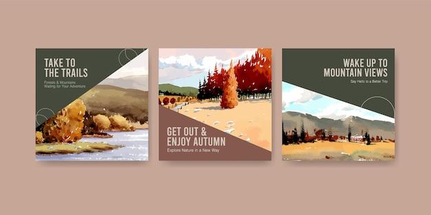 Szablon Reklam Z Krajobrazem W Jesiennym Designie Na Post Na Instagramie Darmowych Wektorów