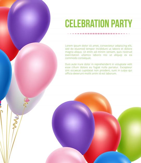 Szablon Reklamowy Z Balonami. Przezroczyste Kolorowe Balony Latające Hel Dla Niespodzianki Tło Urodziny Premium Wektorów