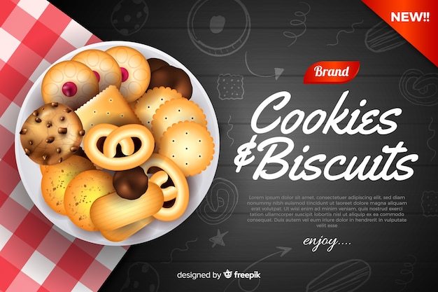 Szablon reklamy dla plików cookie z doodles Darmowych Wektorów