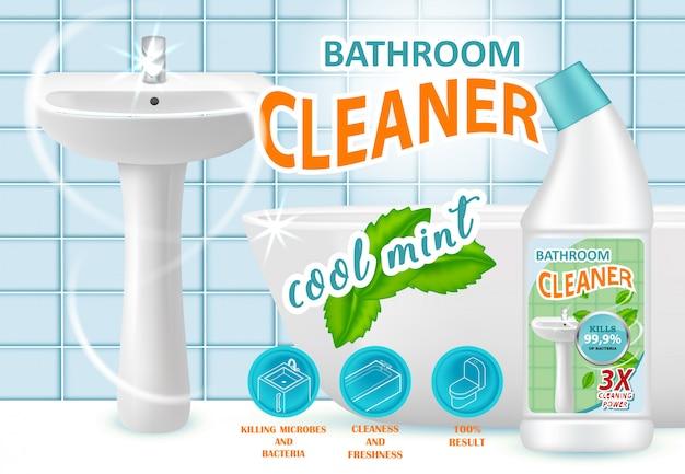 Szablon Reklamy Fajnej Mięty Do Czyszczenia łazienki Premium Wektorów