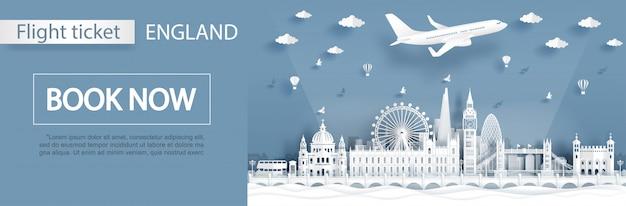 Szablon reklamy lotniczej i biletowej z podróżą do londynu Premium Wektorów