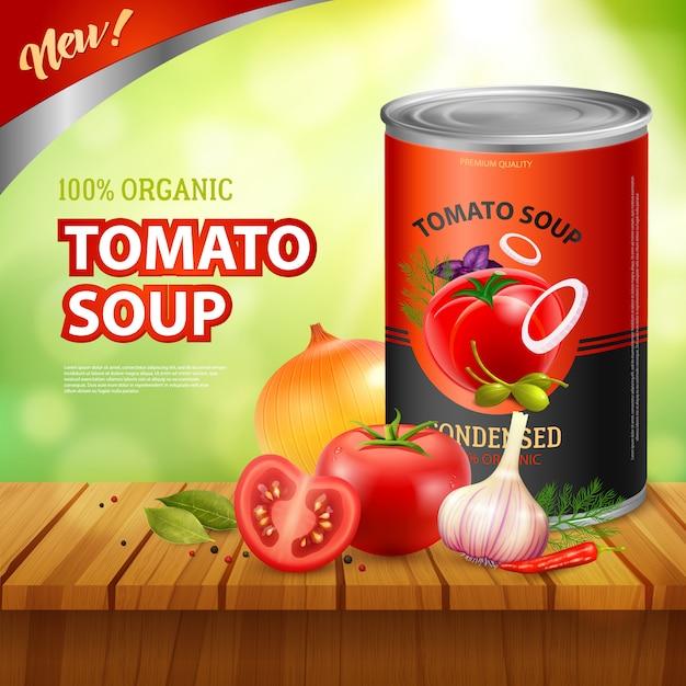 Szablon reklamy opakowania zupy pomidorowej Darmowych Wektorów