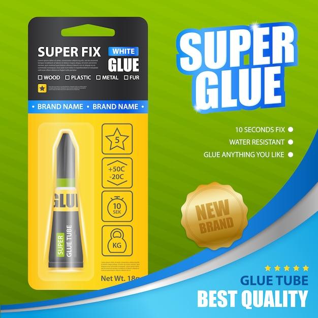Szablon Reklamy Super Glue Realistic Darmowych Wektorów