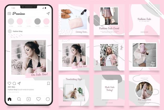 Szablon Reklamy W Mediach Społecznościowych Na Instagramie Premium Wektorów