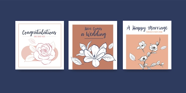 Szablon Reklamy Z Koncepcją Ceremonii ślubnej Dla Ilustracji Wektorowych Reklamy I Ulotki. Darmowych Wektorów