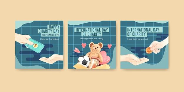 Szablon Reklamy Z Projektem Koncepcyjnym Międzynarodowego Dnia Miłości Do Reklamy I Marketingu Akwareli. Darmowych Wektorów