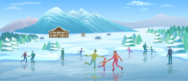 Szablon Rekreacji Zimowej Góry Darmowych Wektorów